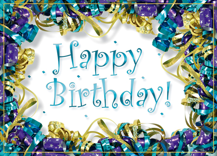 Foil Ribbons Happy Birthday Card